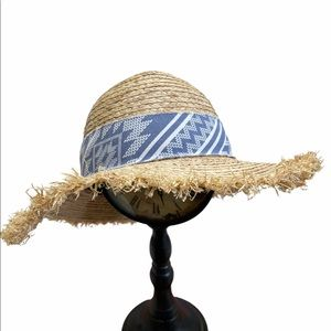 Michael Stars Straw Sun Hat Ikat Beach  Adjustable